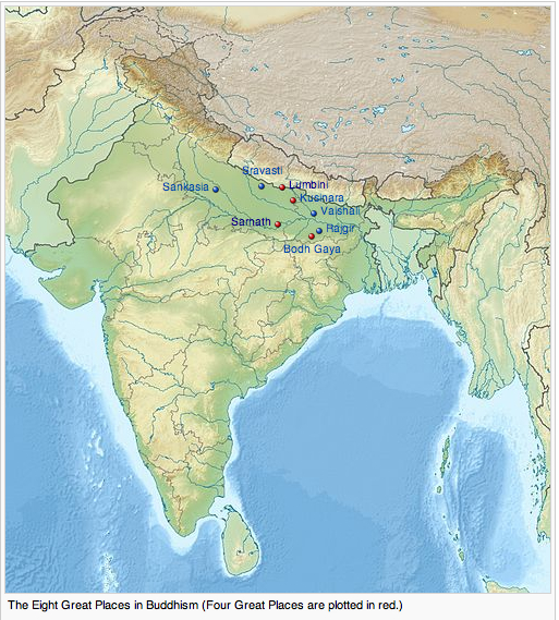 "Map of Ancient India, showing the ""eight great places in Buddhism."""