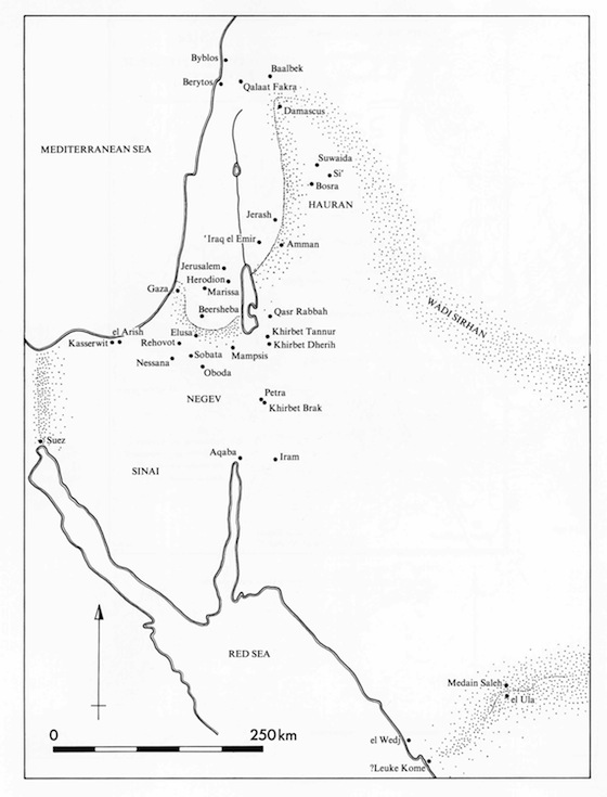 Map of Major Nabataeans Sites