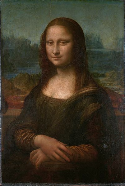 Leonardo da Vinci, Mona Lisa, c. 1503-05, oil on panel 30-1/4 x 21 inches (Musée du Louvre)""