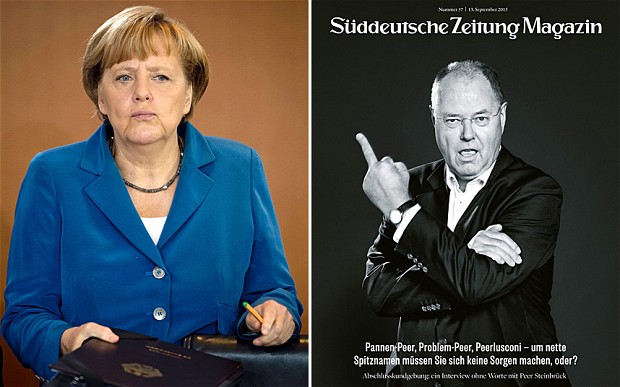 Angela Merkel, left, and Peer Steinbrueck on the controverisal magazine cover