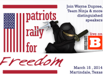 Patriots Rally for Freedom in Martindale, Texas – March 15, 2014; Breitbart TV to televise