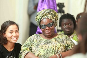 Prof. Ama Ata Aidoo with Nneka at AWDF house