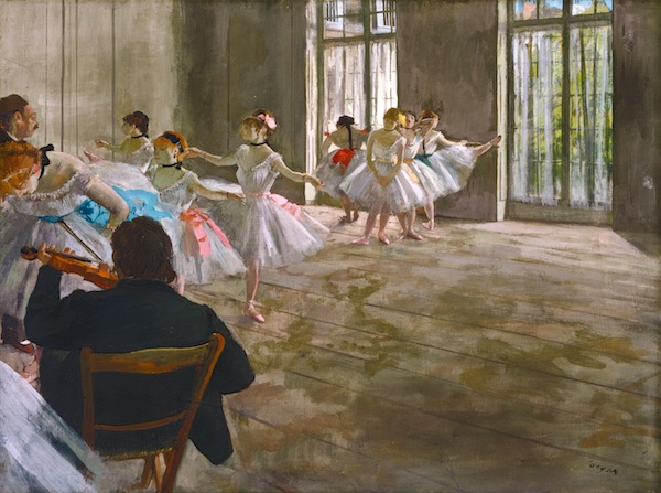 Edgar Degas, Rehearsal in the Studio, c. 1878-1879, egg tempera on canvas. ©SHELBURNE MUSEUM, SHELBURNE, VERMONT. COURTESY COLLECTION OF SHELBURNE MUSEUM. GIFT OF ELECTRA WEBB BOSTWICK.