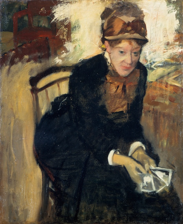 Edgar Degas, Mary Cassatt, c. 1879-1884, oil on canvas.  COURTESY NATIONAL PORTRAIT GALLERY, SMITHSONIAN INSTITUTION. GIFT OF THE MORRIS AND GWENDOLYN CAFRITZ FOUNDATION AND THE REGENTS' MAJOR ACQUISITIONS FUND, SMITHSONIAN INSTITUTION NATIONAL PORTRAIT GALLERY, SMITHSONIAN INSTITUTION / ART RESOURCE, NY.