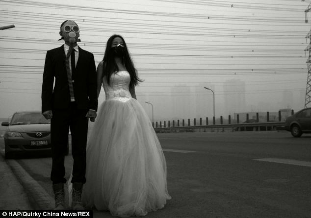 You May Now Kiss The Bride... Or Maybe Not As It Seems! Couple In China Protest The Smog With Gas Masks