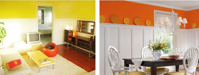 желтый и оранжевый цвет в интерьере сочетается с белым