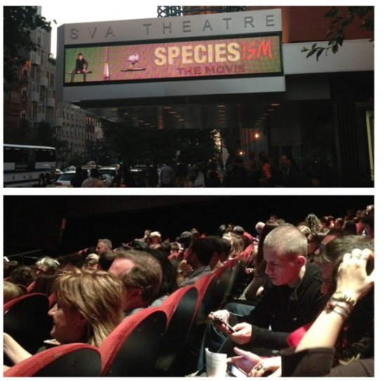 A packed theatre for the premiere of Speciesism: The Movie