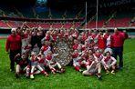 Rhondda Schools Rugby Under-15s celebrate their Dewar Shield win