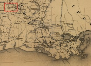 Map denoting the village of Pleasant Hill where the battle was fought on April 9, 1864.