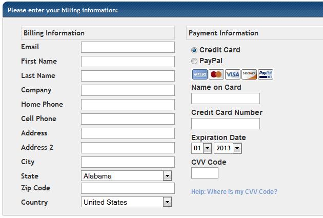hosting billing info