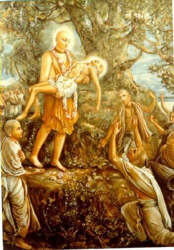 Haridas Thakur in the arms of sri Chaitanya Mahaprabhu