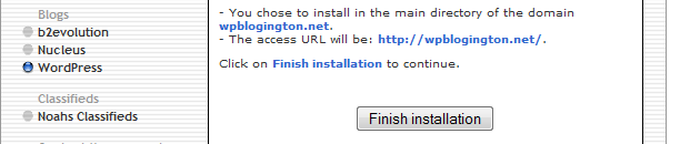 finish wordpress install