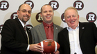 Redblacks GM Marcel Desjardins, left, head coach Rick Campbell and owner Jeff Hunt get to pick 24 players in Monday's draft. (Fred Chartrand/Canadian Press)