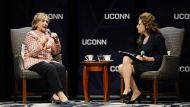 Hillary Clinton at the University of Connecticut on Wednesday
