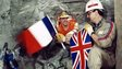 Philippe Cozette from France (R) and Graham Fagg from England pictured during the construction of the Channel Tunnel