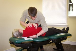 spinal adjustment by chiropractic manipulation