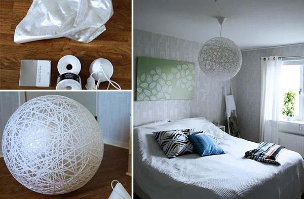 17.) A workout ball can help you make this awesome yarn lamp shade.
