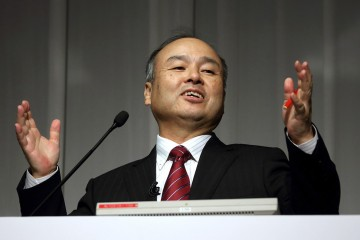 Masayoshi Son speaks during a news conference in Tokyo on May 7