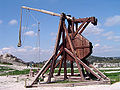 Reconstruction of a trebuchet at Château des Baux, France