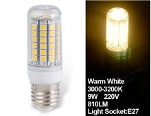 HUIMIN 9W 220V E27 69x5050SMD Epistar Warm White LED Corn Bulb