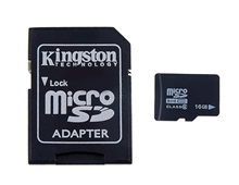 16GB Class 6 TF Micro SD Card with Adapter (Black)