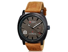 CURREN 8139 Unisex Stylish Quartz Analog Watch with Leather Strap (Grey) M.