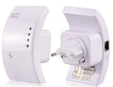 EU Plug Wifi Repeater 802.11N/B/G Network Router Range Expander 300M Wireless-N Repeater with WPS (White)