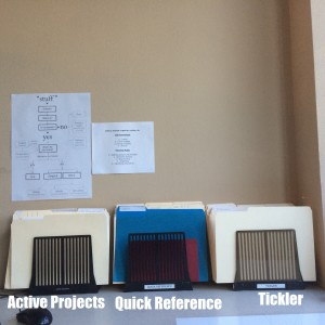 Active Projects, Quick Ref, Tickler - Where stuff gets filed.
