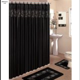 Black 18-Piece Bathroom Set: 2-Rugs/Mats, 1-Fabric Shower Curtain, 12-Fabric Covered Rings, 3-Pc. Decorative Towel Set