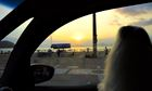 Looking out of car to beach in Brazil