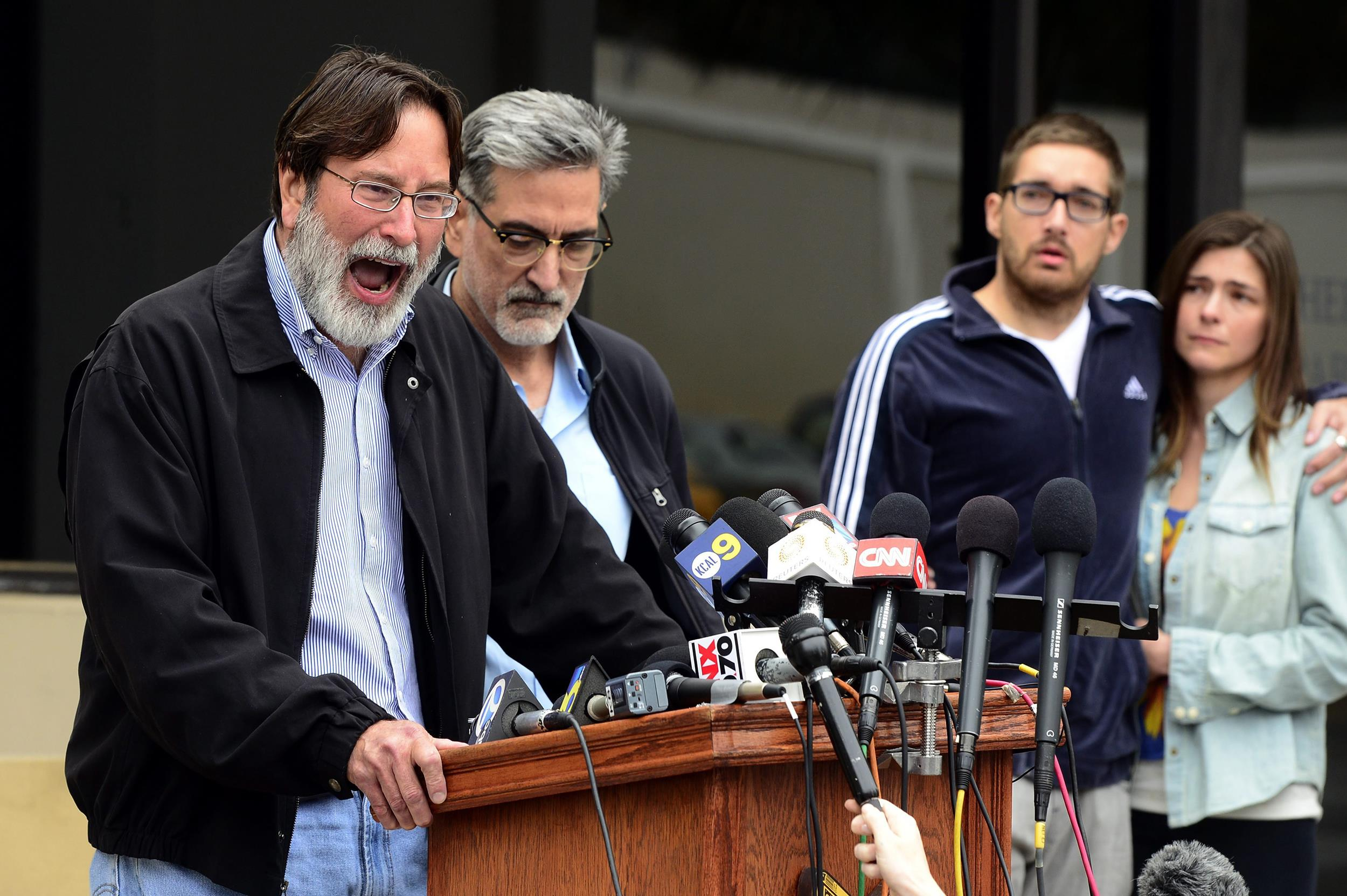 Image: Richard Martinez, the father of mass shooting victim Christopher Martinez, expresses his anger and sorrow as he speaks to the media