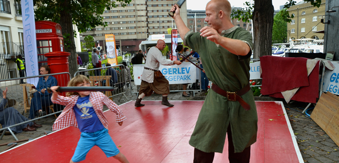 Viking fighting is just one of the options of things for the kids to do at St Katharines dock