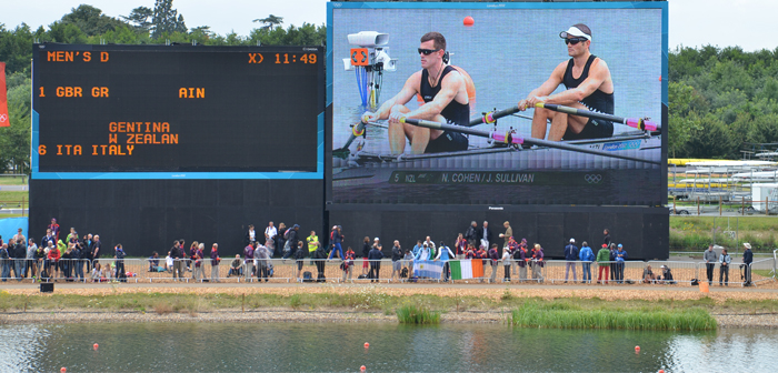 The Kiwi team on the big screen at Eton Dorney during the rowing of a double scull