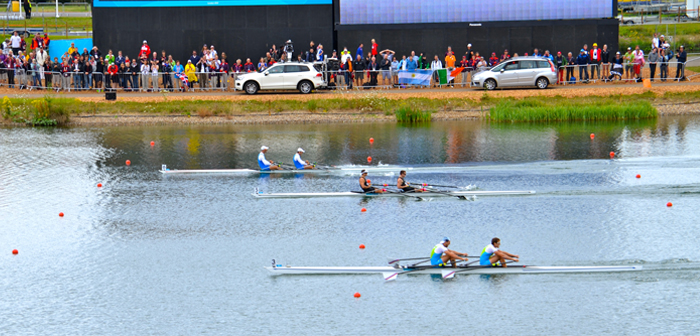 Mens double scull rowing at Eton Dorney at London Olympics