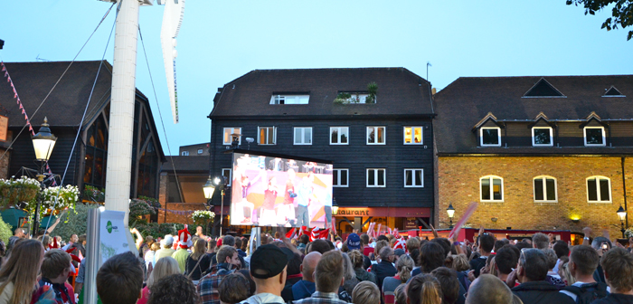 Big screens to watch all the Team Denmark matches at St Katharines Dock