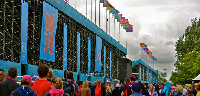 Stands and flags at Eton Dorney Olympic Rowing