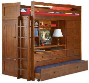 ALL N ONE LOFT BUNK BED PLAN; Build your own TWIN, FULL, QUEEN, KING Loft Bed with TRUNDLE, Desk, CHEST, and Closet; Pattern not available in any store!! Easy to follow Step by Step Directions!!