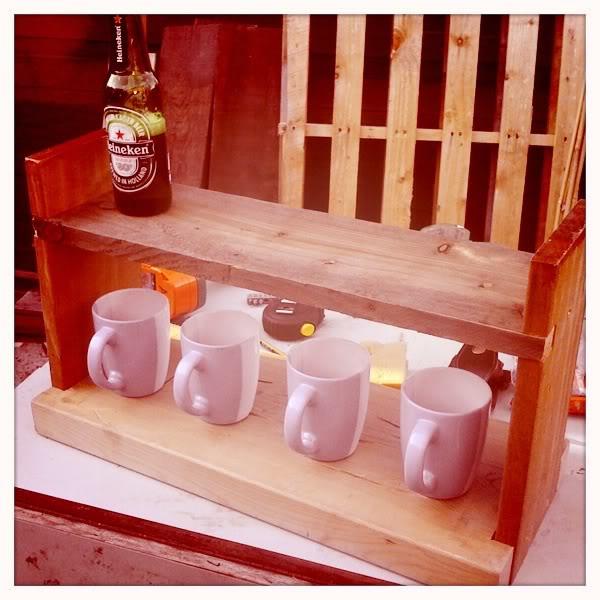 DIY coffee bar by groom