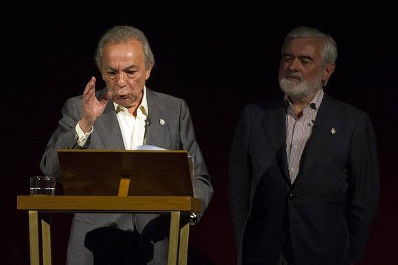 José Luis Gómez y Darío Villanueva durante la función. Foto: Daniel Alonso, CDT.