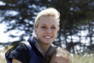 Dr. Pamela Munster, a UCSF breast cancer specialist diagnosed with breast cancer, poses for a portrait with her daughter Maya Daud, 10, at Crissy Field in San Francisco, CA, Saturday June 7, 2014.