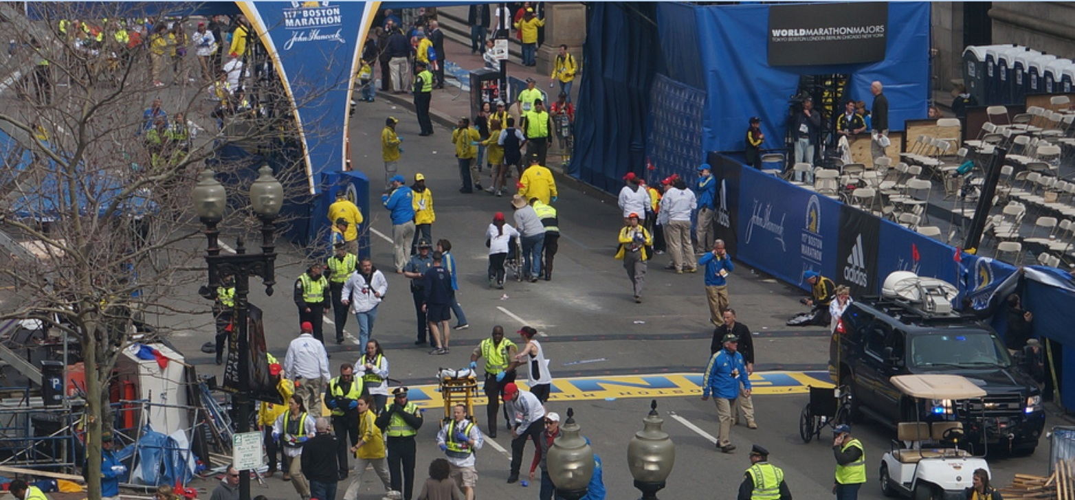 Boston Marathon first explosion hahatango Zahirs-crop for Superhero Cowboy t04-16-27m e06m43s d02-56-41 F37 Cowboy finally rushing legless victim away on wheelchair 6 minutes 43 seconds after explosion