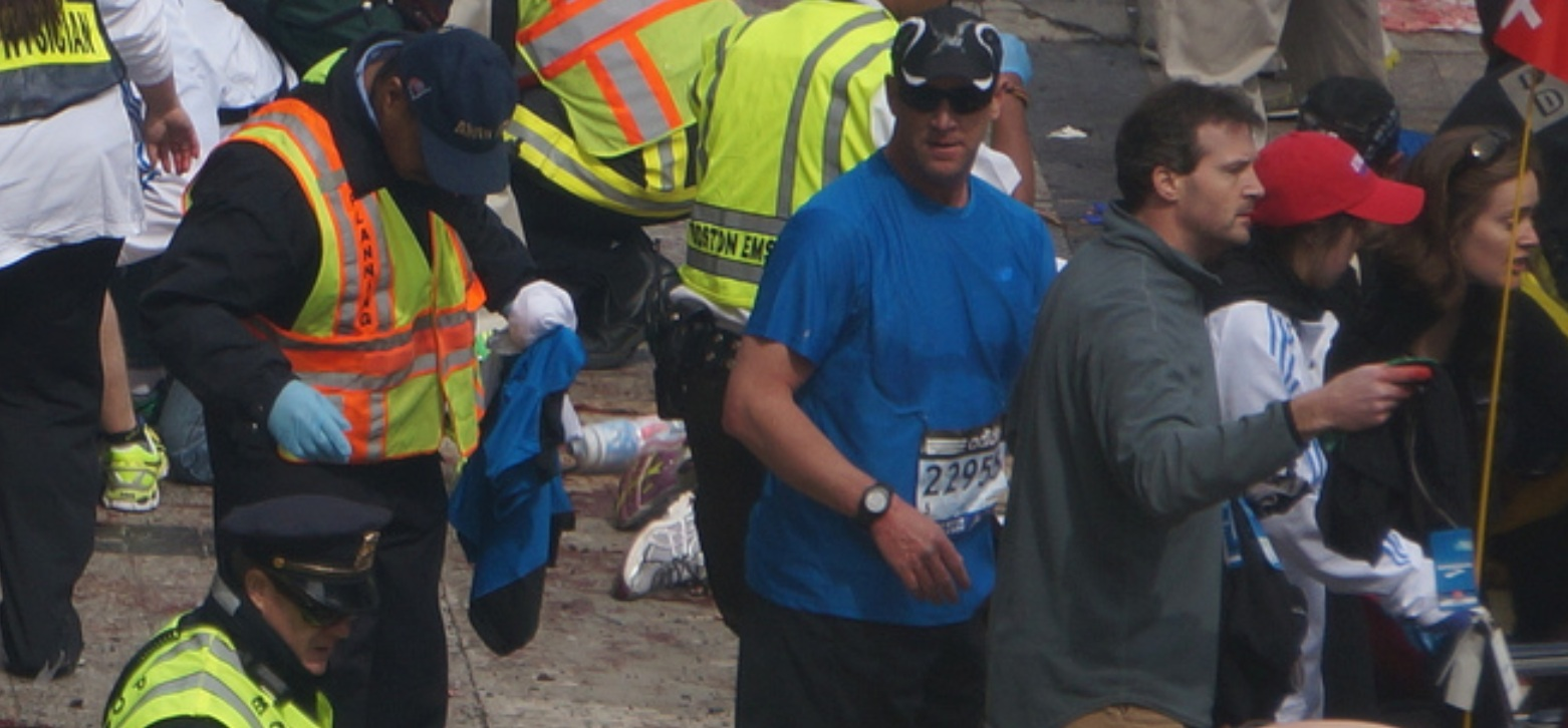 Boston Marathon first explosion hahatango Zahirs-crop for Superhero Cowboy t04-15-31m e05m47s d02-55-45 F36 Empty wheelchair ready for legless victim