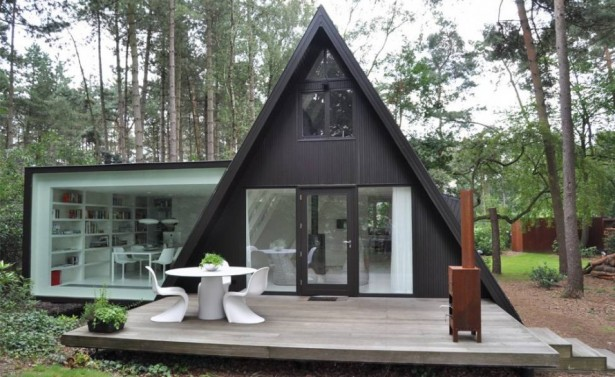 Architecture, Inspiring Triangular Frame House Designs Ideas: Outstanding Exterior Of The Modern Frame House
