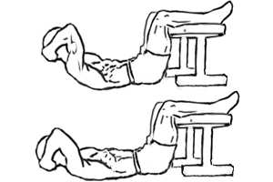 Crunches with feet elevated