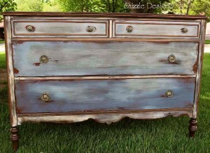 and waxed by Shizzle Design in CeCe Caldwells Chesapeake Blue Aging Dust Dover White vintage Michigan chalk clay paint front vintage best pictures painted furniture favorite 300x219 <center>Painted Furniture Inspirations</center>