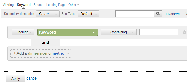 advanced search to include or exclude keywords