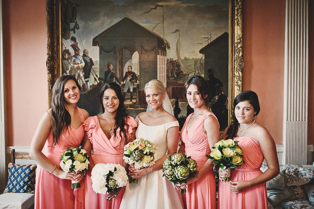 Leanne had four bridesmaids, who all had different styles of dresses, but in the same fabric and coral colour.