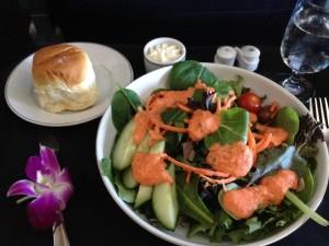 Salad, Bread, and Hawaiian Flower