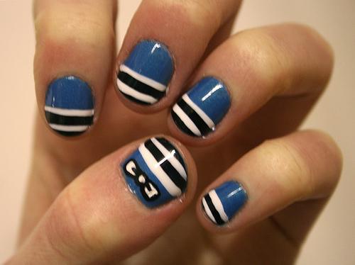морской красивый дизайн ногтей для морячки
