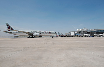 Qatar Airways' Boeing 777 is pictured on arrival at Dallas/Fort Worth International Airport.